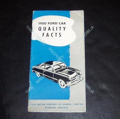 1950 FORD CANADA Dealer 28p CAR FACTS BOOKLET Brochure, Wagon Convertible Custom
