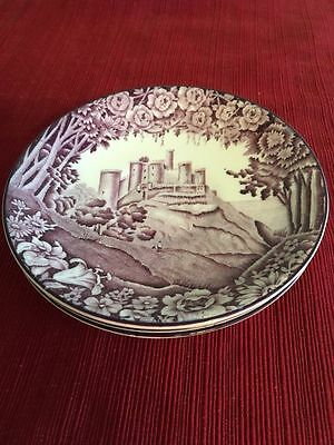 "3 Enoch Woods 5 1/2"" Saucers Harlech Castle Purple/mulberry Woods & Sons England"