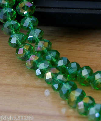 Jewelry Faceted 70pcs 6x8mm Rondelle Glass Crystal Beads green AB