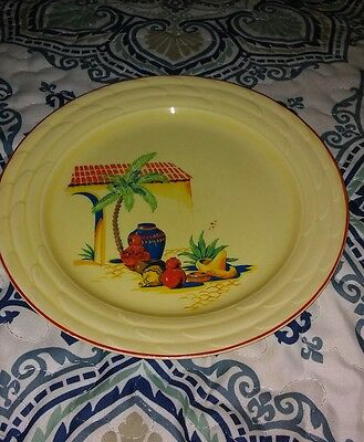 "W. S. GEORGE Lido Canarytone 9"" Dinner Plate Southwest Mexican Theme Display Old"