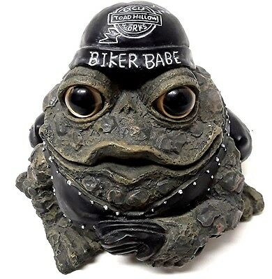 """Biker Babe"" Toad Hollow Cycle Works Motorcycle Biker Frog Resin Rider Figurine"