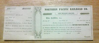 UNISSUED 1860's NORTHERN PACIFIC RAILROAD CO. STOCK TRANSFER CERITIFICATE.
