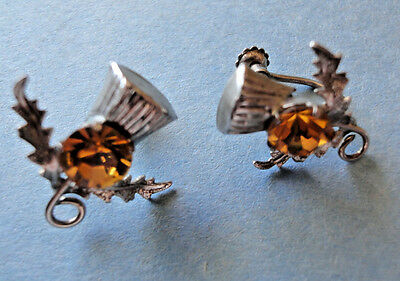 Celtic Earrings, Sterling Silver Thistles & Citrines WBS Silver Embossed