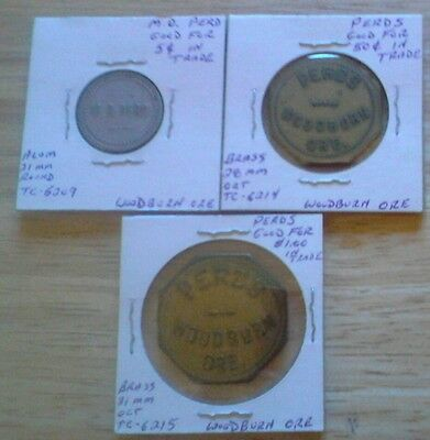 Lot Of 3 Trade Tokens. Perd's, Woodburn Ore. Nice.