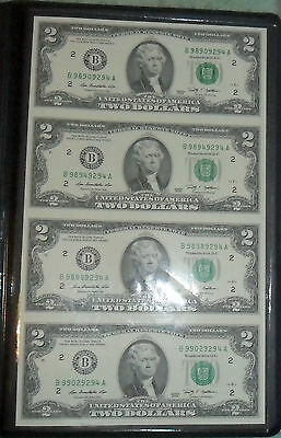 JB RFM 59339 Uncut Sheet of 2009 Two Dollar $2 Notes Bills with Display Wallet a