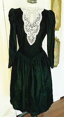 Jessica McClintock Vintage Prom Green Velvet Dress-Lace Tulle Sz 8 Steampunk