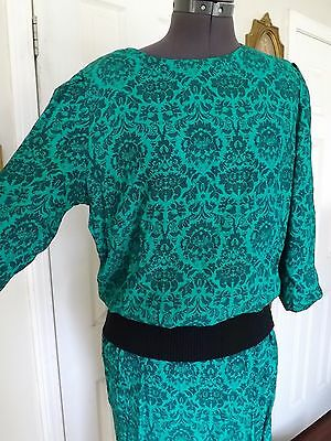 Vtg 80s Wiggle Victorian Print Punk Structural Glam Party Dress M/L 3/4 sleeve