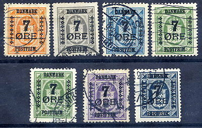 DENMARK 1926 7 Øre surcharges on officials set used