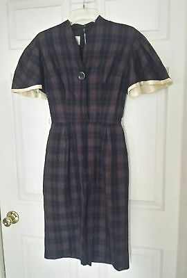 Vintage 40'S 50'S BELL SLEEVE STRAIGHT SKIRT BROWN BLUE PLAID COTTON DRESS