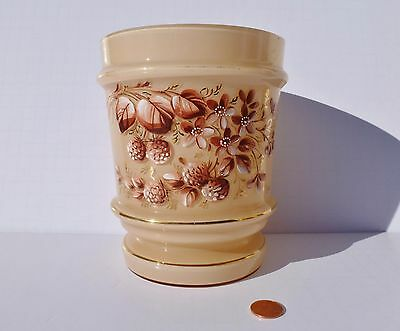 Opaque Clam Broth BRISTOL GLASS VASE Hand Painted Enameled Flowers