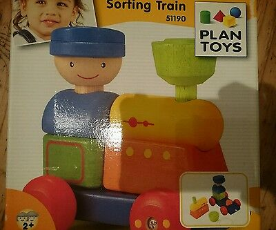New Plan Toys wooden sorting train in box very good condition from age 2+