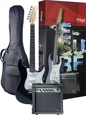 """STAGG ESURF S250 Full Size 39"""" S-Type Electric Guitar Package BLACK + 10W Amp"""