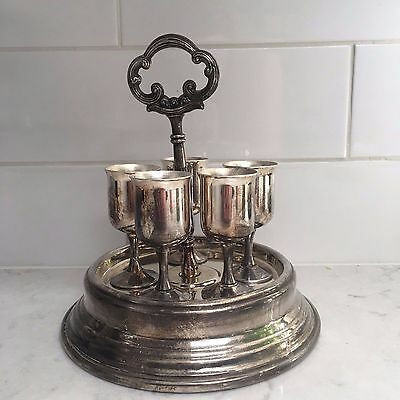 Lot Five Mini Goblets And Serving Tray Pedistal Tarnished No Stamp Silverplate?