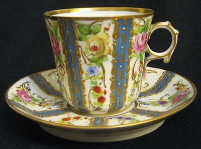 Antique Sevres Collectible Demitasse  Matching Cup Saucer Hand Painted Jewelled
