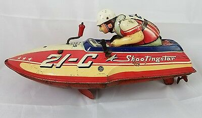 Yonezawa Shootingstar Speed Boat HTF Japan Wind Up Race Boat Shooting Star 21-C