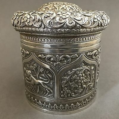 EXCEPTIONAL VERY RARE Antique Indian Solid SIlver Tea Caddy Cutch Karachi 1900s