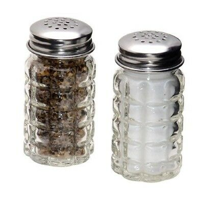 Clear Glass Salt and Pepper Shakers Retro Stainless Steel Tops Decor Set Of 2