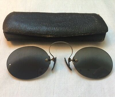ANTIQUE Silver Tone Spring Bridge PINCE NEZ GREEN Tinted SPECTACLES with Case