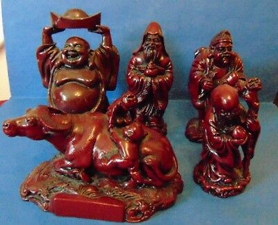 Chinese Cinnabar (Red Resin) Figures x5 In Good Condition