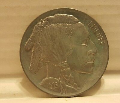 "1913 Large 3"" Indian Head Nickel Coin Souvenir Shiny Buffalo"