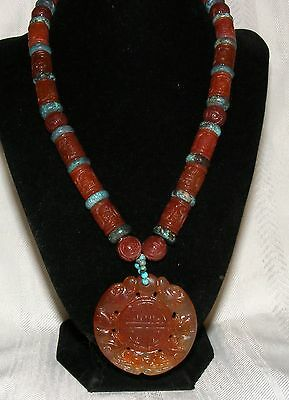 Vintage Chinese Carved Carnelian and Turquoise Shou Bead Dragon Pendant Necklace