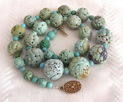 Antique Chinese Natural Turquoise Shou Longevity Bead Necklace Hand Carved