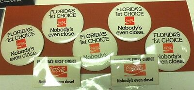 "Set Of 5 Large 1970S ""florida 1St Choice....."" Pins With 2 Badges - Nice Items"