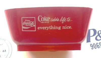 1970S Hard Plastic Coca-Cola Red Ashtray-Coke Adds Life To Everything Nice-Mint