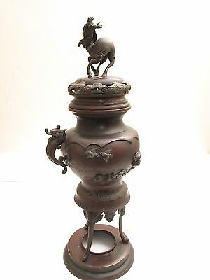 Antique Repro Bronze Chinese Incense Censer Burner Stand Imperial Dragons Clouds