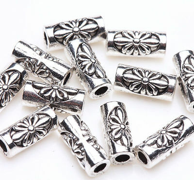 30 Tibetan Silver Tube Flower Carving Bead Charm Jewelry Finding Making 8x3mm