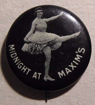 1915 MIDNIGHT AT MAXIM'S MOVIE ADVERTISING CELLULOID PIN -  Pinback Button