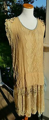 Authentic Gatsby Vintage 1920s Flapper Silk Lace Ribbon Flowers Dress