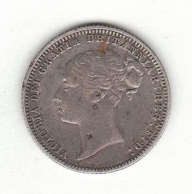 1875 Great Britain Queen Victoria Silver Sixpence.  Die # 53.
