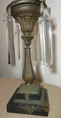antique quality 1800's gilt bronze Astral brass crystal electric table oil lamp