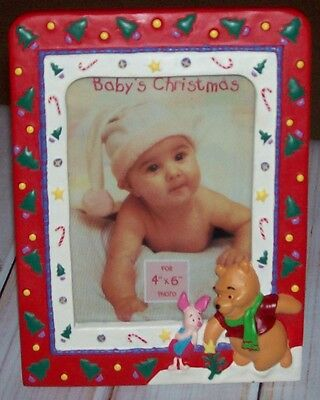 """Winnie The POOH Baby's First Christmas Porcelain Picture Frame For 4""""X6"""" Photo"""