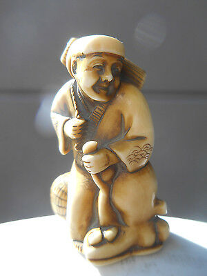 Antique Japanese Katabori Netsuke of Fisherman with Octopus Meiji Period Signed