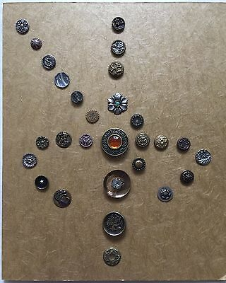 Lot of 28 Antique Buttons Mounted on Card ~ Very Nice Selection!