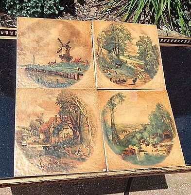 Lot Of 4 Vntg Italy Picture Art Tiles Windmill Pastoral Brown Semi Gres