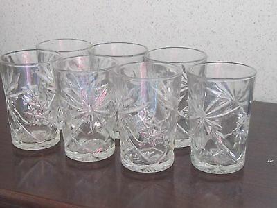 Set of 7 Glasses 4 1/2 inches tall Star of David Prescut EAPG