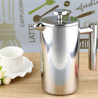 Stainless Steel Cafetiere French Press with Filter Double Wall Coffee Enthusiast