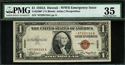 1935A $1 Hawaii WWII Emergency Issue FR-2300* - Star Note - PMG 35