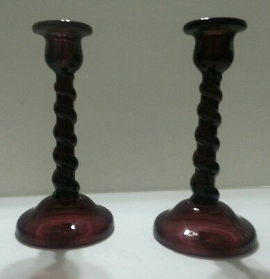 Pair of Vintage Tiffin Amethyst Glass Candlesticks Barley Twist Spiral  No. 66