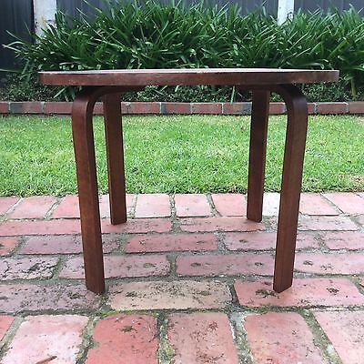 RETRO TIMBER COFFEE TABLE side table ROUND TOP vintage VERSATILE