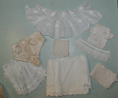 Vintage Embroidered Trims and Antique Clothing Pieces For Doll Clothes and Reuse