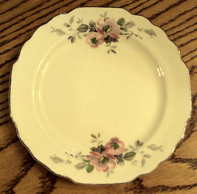 LIDO CANARYTONE Bread/Salad Plate VTG MCM W.S. GEORGE Pink Floral Gray Leaves