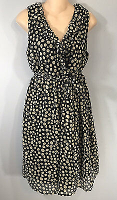Motherhood Maternity Dress Black with Cream Dots Lined SZ Large V Neck