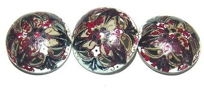lot of three large painted enamel buttons