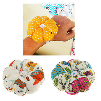 2pcs Pumpkin Shaped Pin Cushion with Wrist Band for DIY Sewing Needlework
