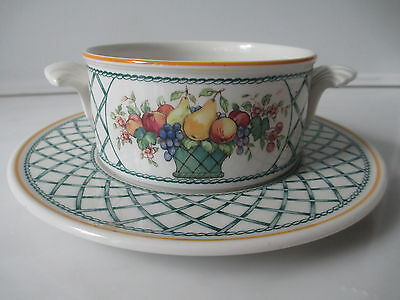 Villeroy and Boch Basket Individual  Cream Soup and Saucer Set