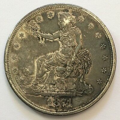 1874-S $1 Trade Dollar *ALMOST UNCIRCULATED* 2 Chops on Reverse ORIGINAL Patina!